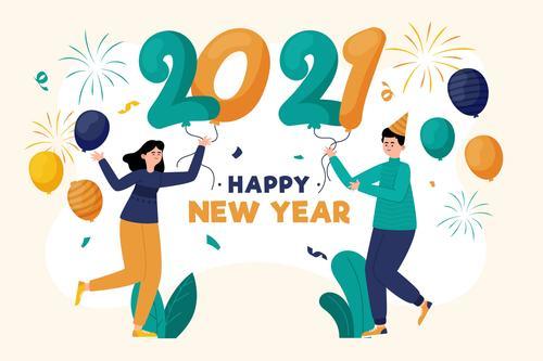Cartoon character 2021 new year greeting card vector