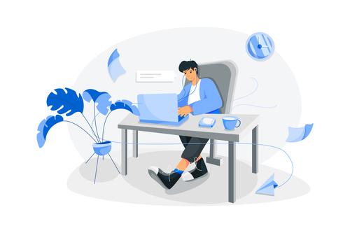 Cartoon illustration home office vector