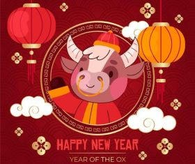 Cartoon style new year greeting card vector