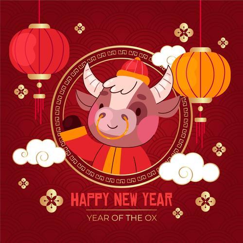 Cartoon style new year greeting card vector