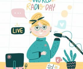 Cartoon world radio day illustration vector