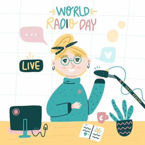 Cartoon world radio day illustration vector