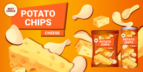 Cheese potato chips poster vector