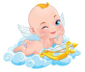 Child cupid icon vector