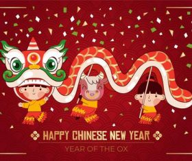 Children lion dance chinese new year greeting card vector
