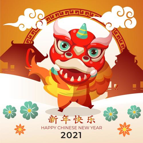 Chinese lion dance new year greeting card vector