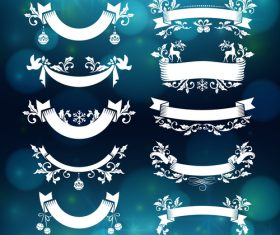 Christmas badges white vector