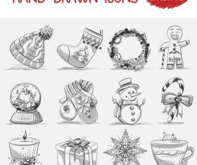 Christmas hand drawn icons vector