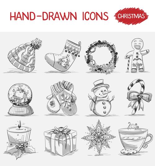 Christmas hand drawn icons vector