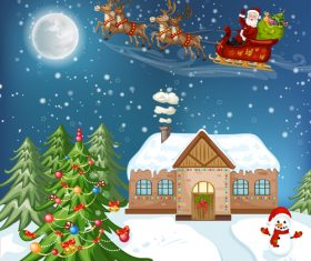 Christmas night flying santa background vector
