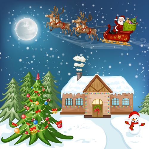 Christmas night flying santa background vector
