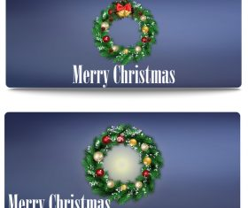 Christmas wreath banner vector