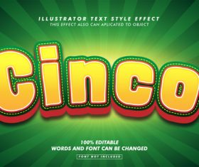 Cinco illustrator text style effect vector