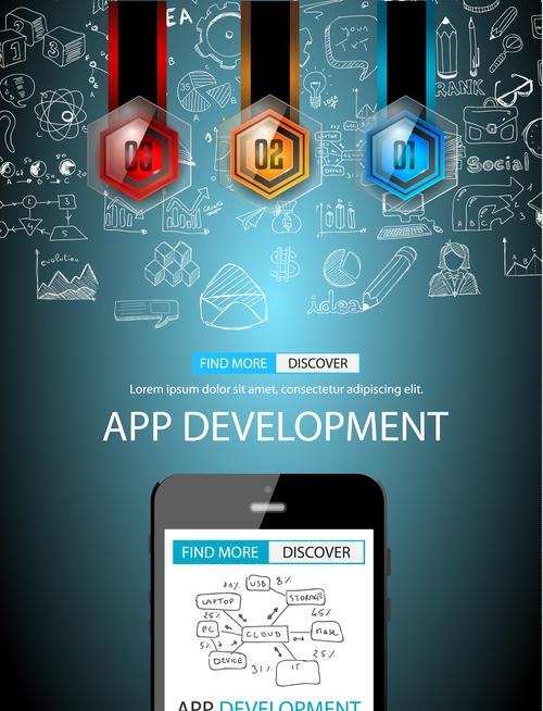 Circular development information background vector