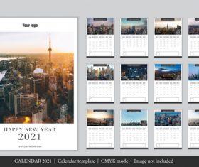 City background 2021 calendar template vector