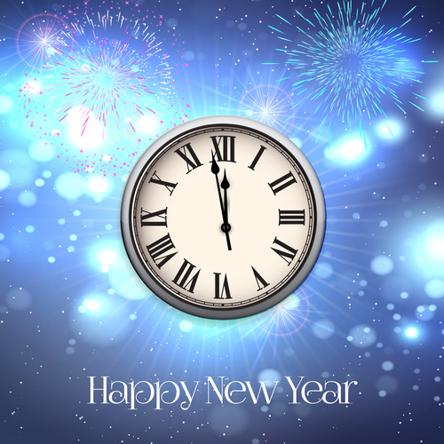 Clock and fireworks new year background vector