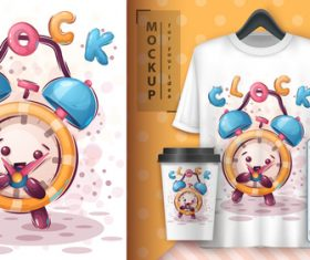 Clock illustrator and merchandising mockup print t-shirt vector
