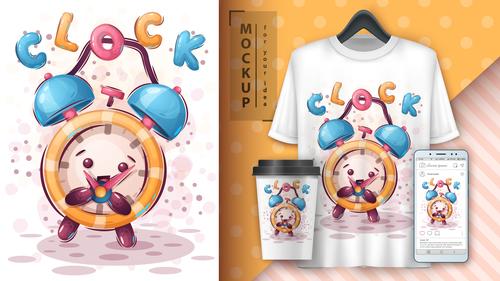 Clock illustrator and merchandising mockup print t shirt vector
