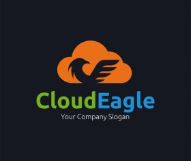 Cloud eagle concept logo design vector