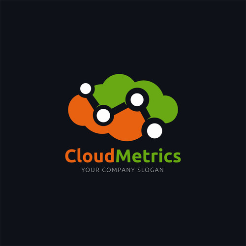 Cloud metrics concept logo design vector