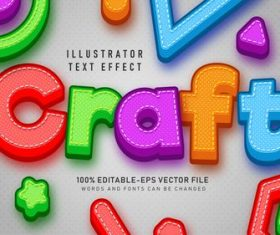 Color 3d editable text style effect vector