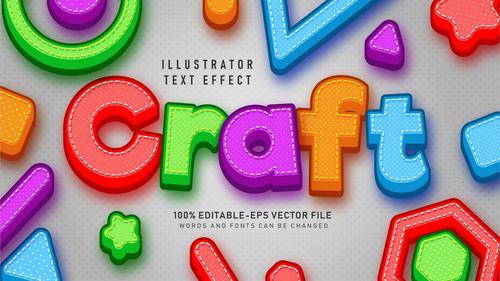Color 3d editable text style effect vector