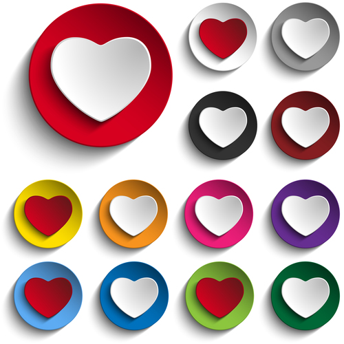Color heart icon vector