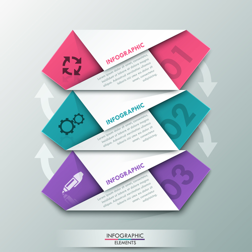 Color origami templates of Infographics vector