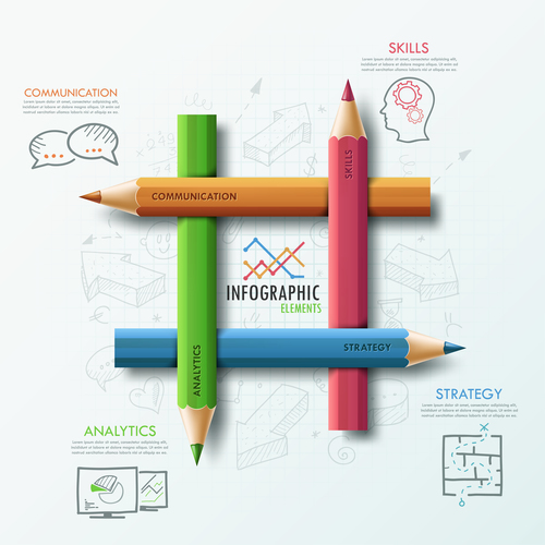Color pencil templates of Infographics vector