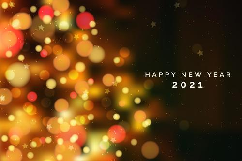 Colorful blurred 2021 new year background vector