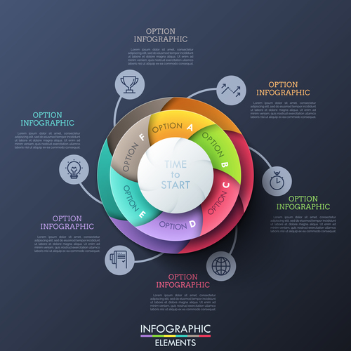 Colorful disc business chart options vector