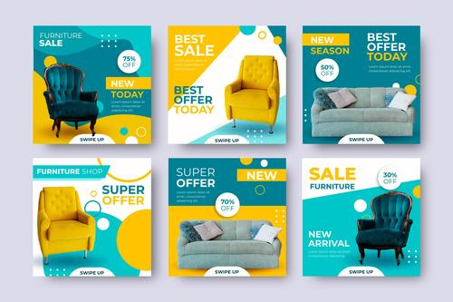 Colorful fabric sofa promotional flyer vector