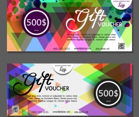 Colorful geometric background gift card voucher vector