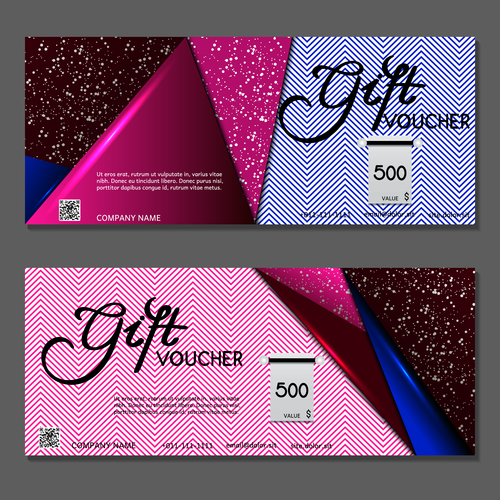 Colorful triangle background gift card voucher vector