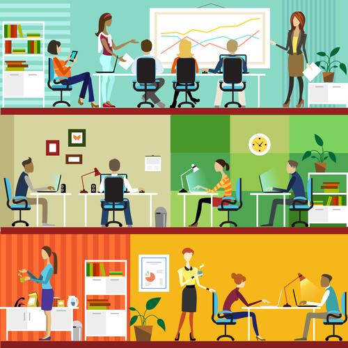 Company operation cartoon vector