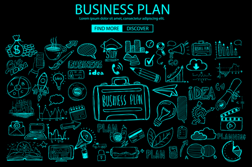 Concept business plan sketch information vector