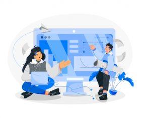 Concept online class illustration vector