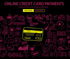 Concept online credit card payment information vector