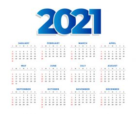 Concise 2021 new year calendar vector