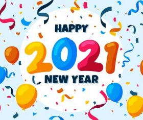 Confetti new year 2021 background vector