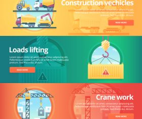 Construction site flat banner set vector