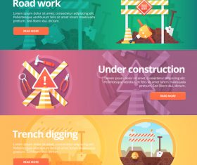 Construction warning flat banner set vector