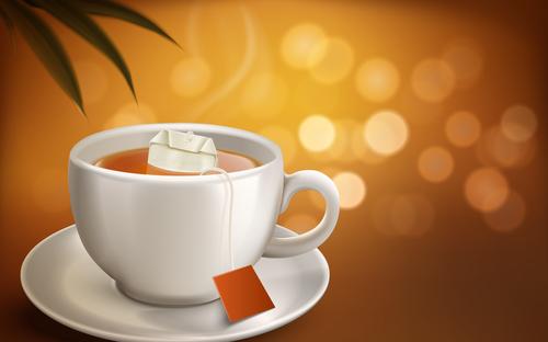 Convenient to brew black tea advertising vector