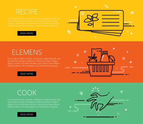 Cooking line vector web banners set