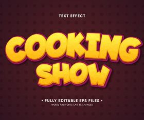 Cooking show editable text effect vector