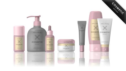 Cosmetic packaging mockup vector