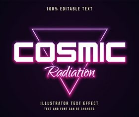 Cosmic radiation editable font effect text vector