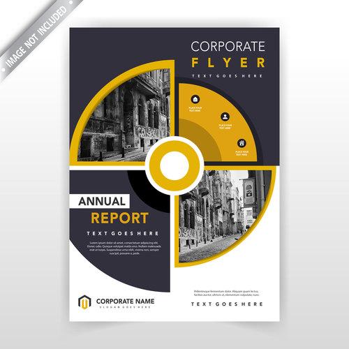 Creative circular flyer design template vector
