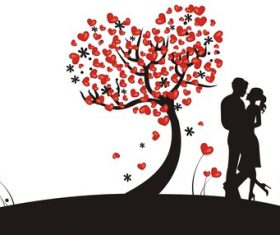 Creative romantic couple silhouette vector