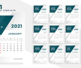 Dark Header 2021 New Year Calendar Vector
